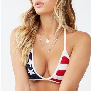 Forever 21 American Flag Knit Halter Triangle Top